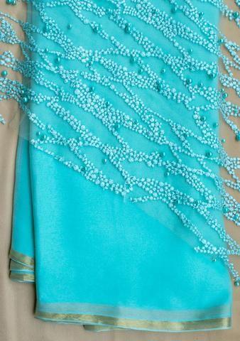 b8e6f488c4e964 Sky blue plain saree with net blouse piece   Saree   Net blouses ...
