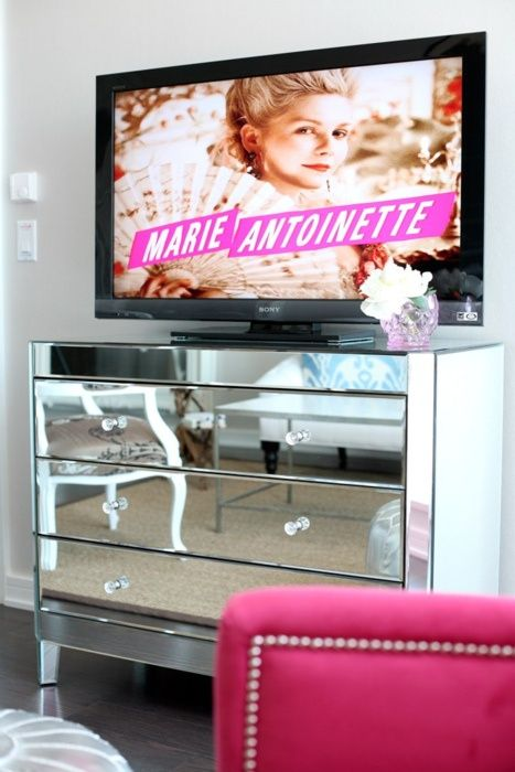 I Am Obsessed With The Mirrored Dresser Used As A Tv Stand Love
