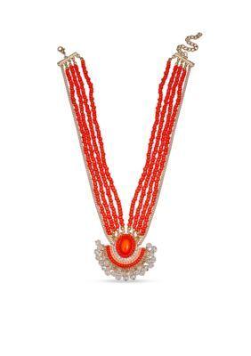 Jules B  Gold-Tone Sun Kissed Beaded Pendant Necklace
