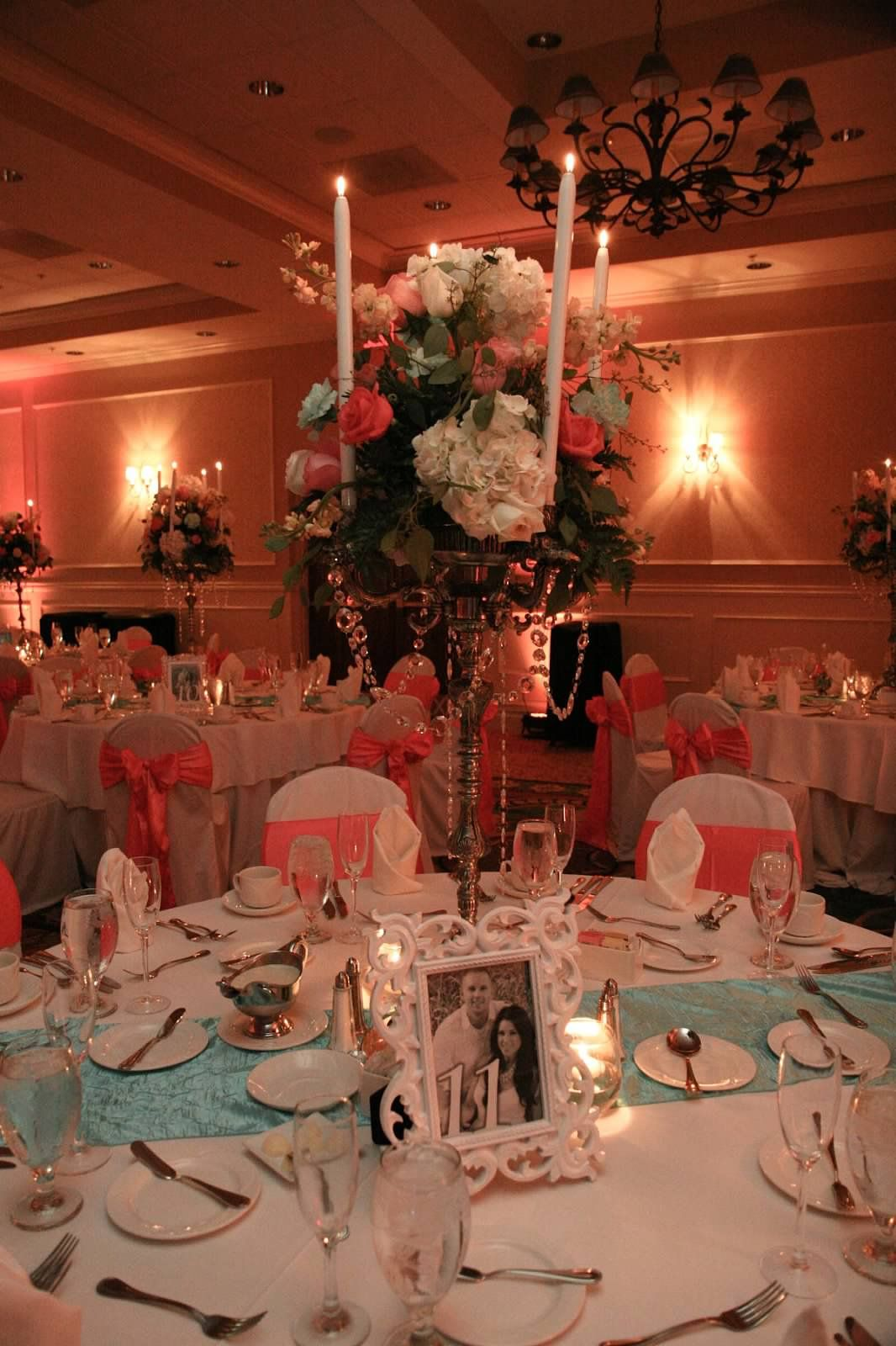 Coral And Aqua Wedding Colors With Crystal And Candelabra
