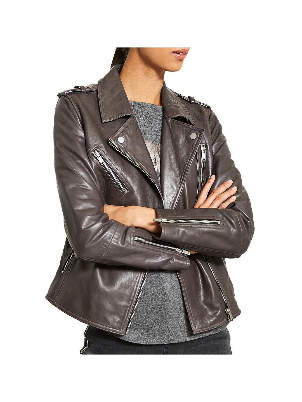 Mint Velvet Washed Leather Biker, Grey Washed leather