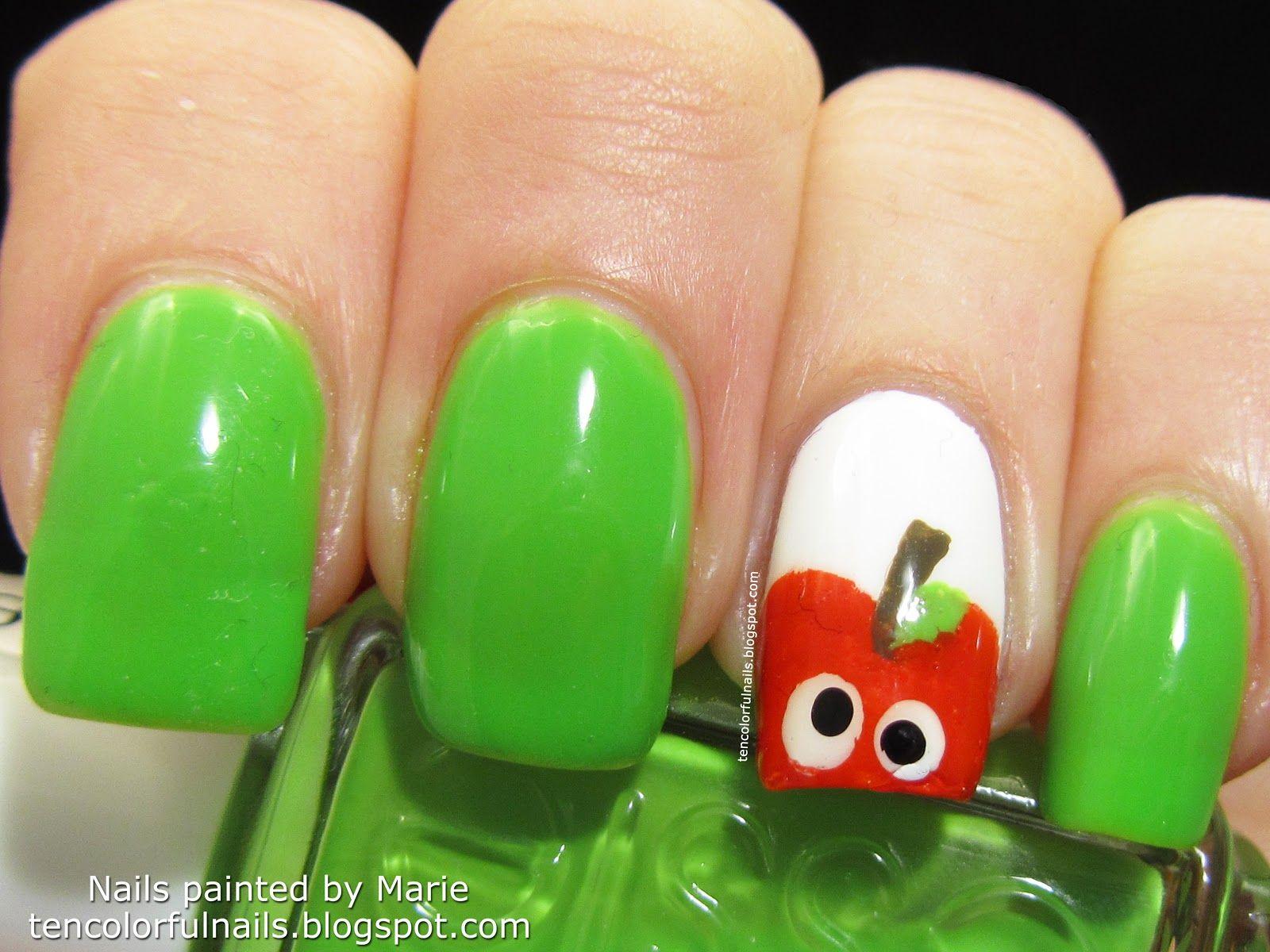 Ten Colorful Nails: Bright Green Apple Nail Art   Beauty tips ...