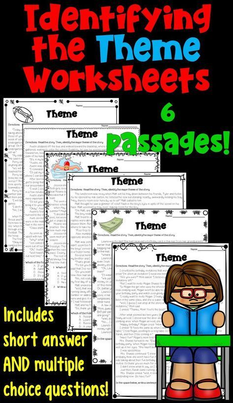 Themes In Literature Worksheets 4th Grade Language Arts