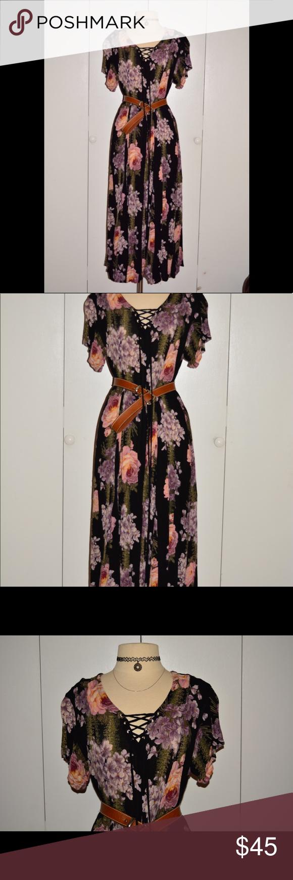 Vintage Floral Maxi Dress Floral Maxi Dress Vintage Dresses Floral Maxi [ 1740 x 580 Pixel ]
