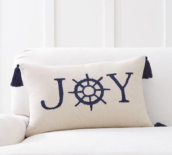 Nautical Joy Embroidered Lumbar Pillow Cover Coastal Christmas