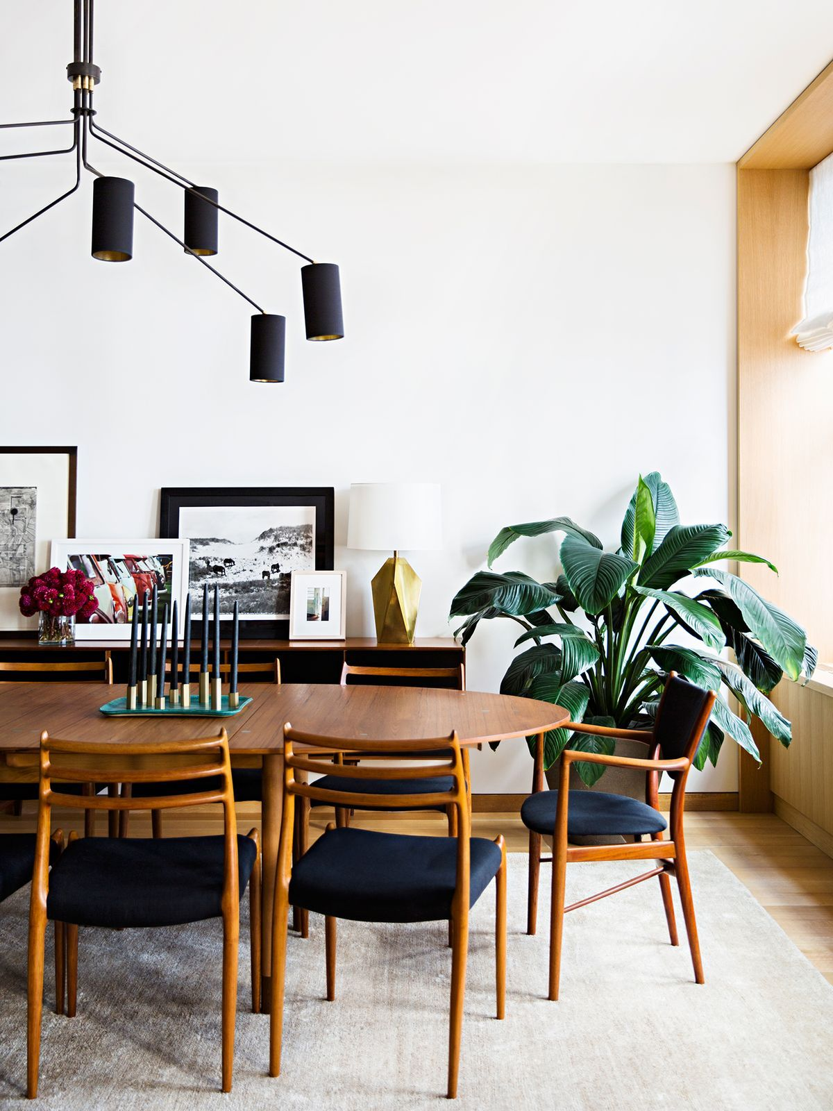 Midcentury Modern Dining Room In Black White And Walnut Mid