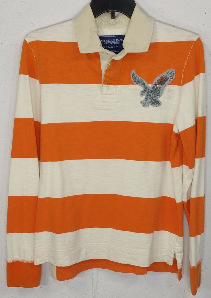 e7bc6ae2307 American Eagle Mens White Orange Striped 100% Cotton Long Sleeve Rugby  Shirt M #AmericanEagleOutfitters #PoloRugby