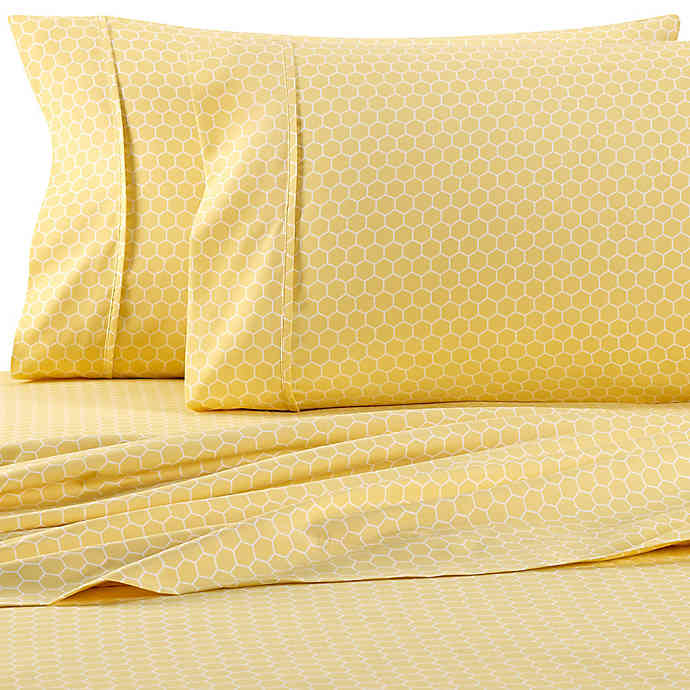 Home Collection Honeycomb Sheet Set Cute Bed Sheets Yellow Bedding King Sheet Sets