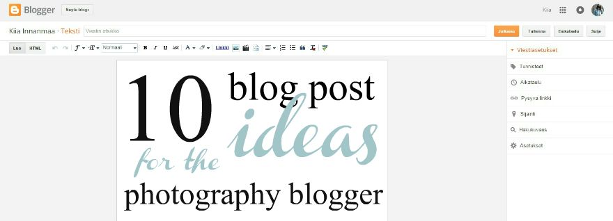 10 blog post ideas for the photography blogger