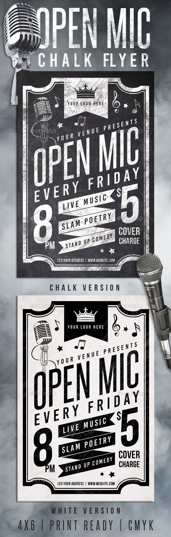 Chalk Open Mic Night Flyer | Flyer template, Template and Event flyers