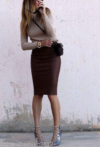 014 zara brown midi pencil bodycon skirt snakeskin faux leather ...