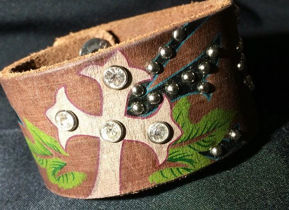 Recycled Brown Leather with Cross Bling Concho by VintageDayzFound
