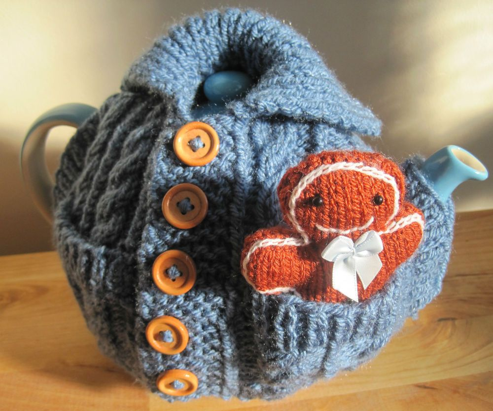 Vintage Tea Cosy Knitting Patterns Free : Hand knitted xmas cardigan tea cosy with gingerbread man