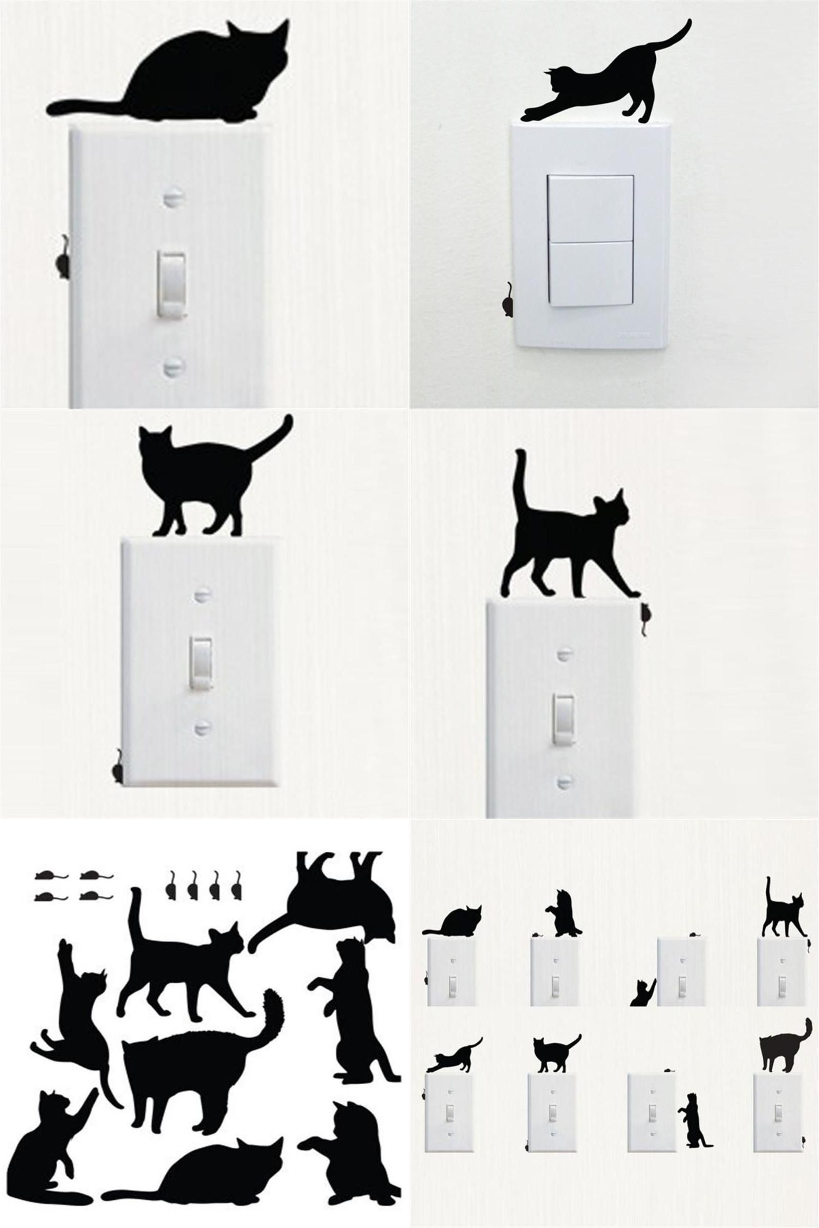 Visit To Buy Stickers Cat Switch Sticker Room Window Wall - Vinyl decal cat pinterest