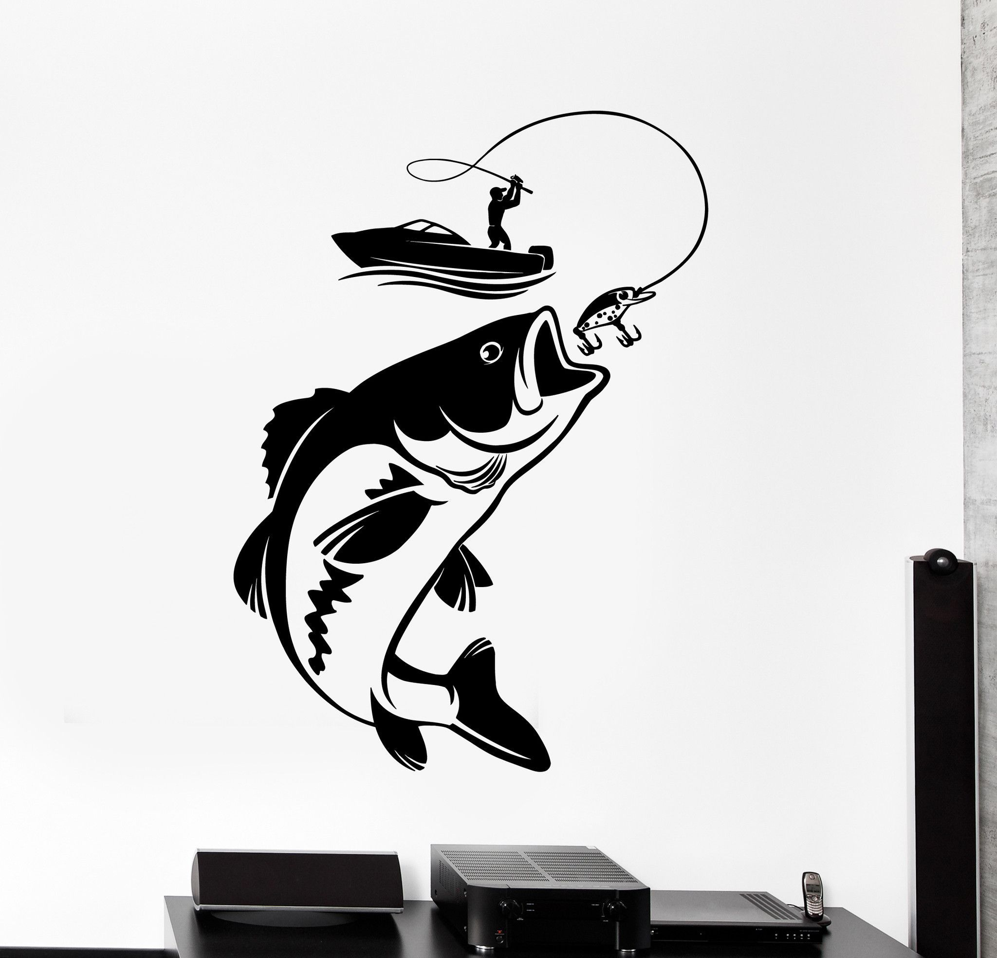 Vinyl wall decal fishing fisherman hobby fish boat for Fishing boat decals