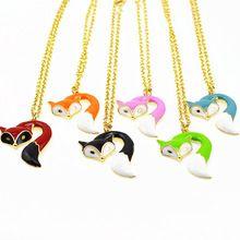 fashion jewelry metal enamel fox long pendant necklace(China (Mainland))
