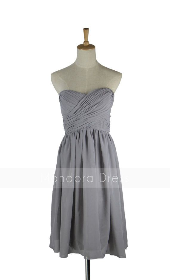 Gray Bridesmaid Dress - Strapless Bridesmaid Dress - Chiffon Short ...