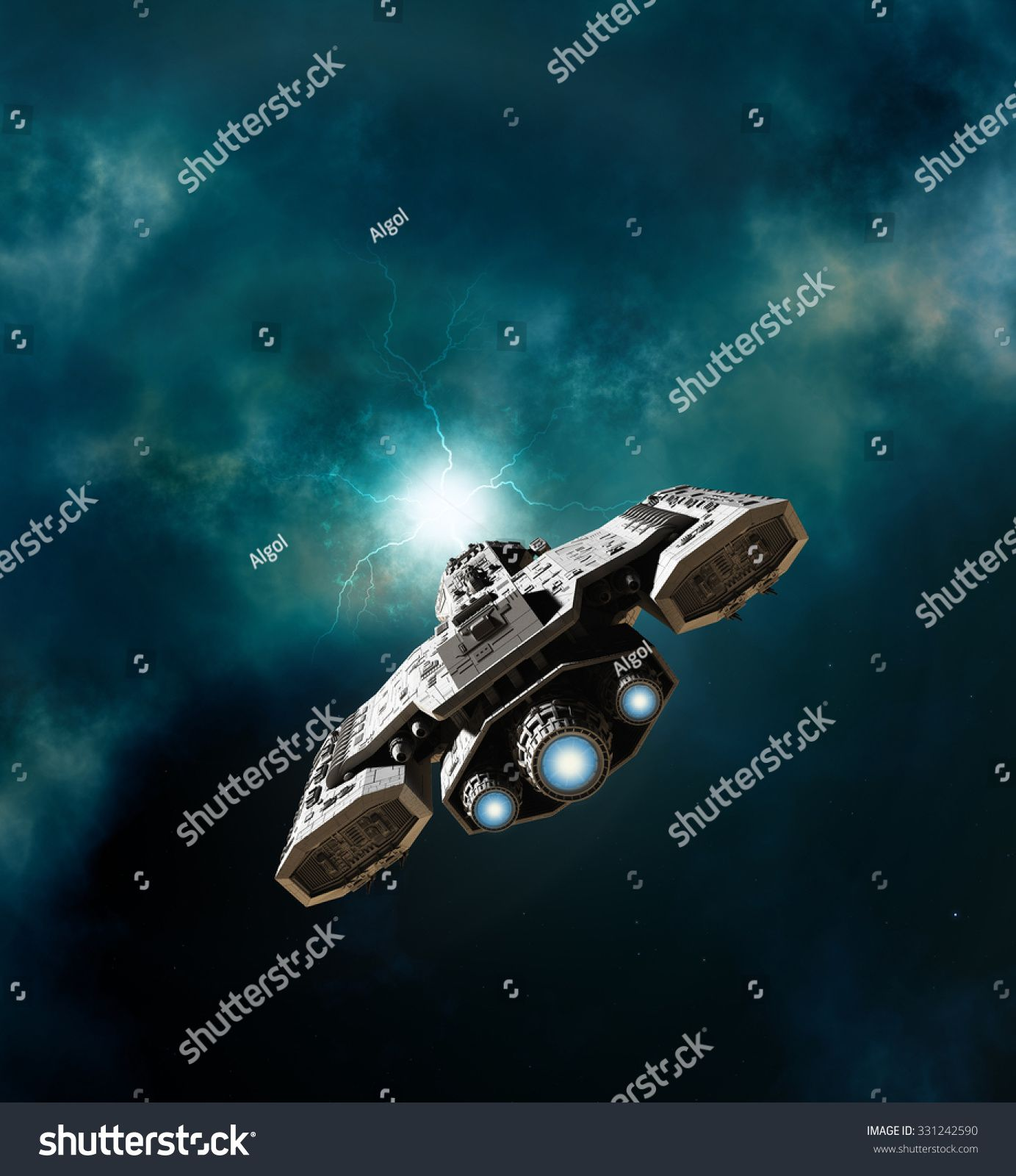 Science fiction illustration of a spaceship about to enter a wormhole in deep space 3d digitally rendered illustration