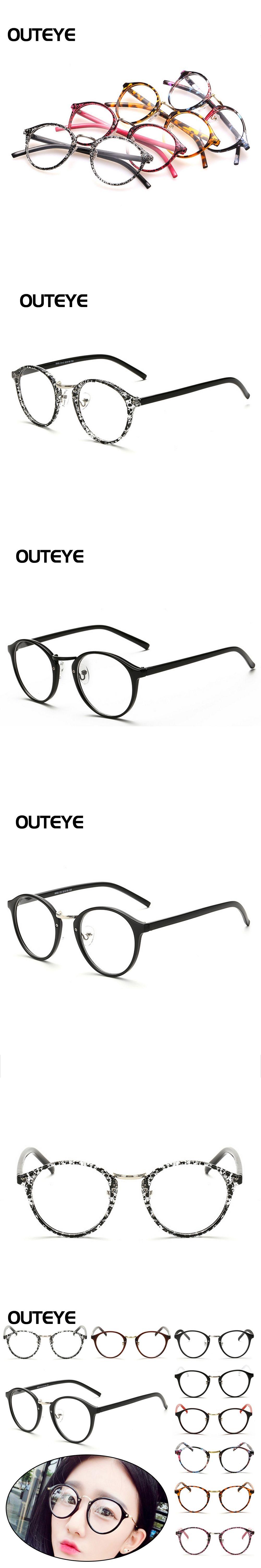 0b00fee2086 OUTEYE Round Optical Frame Women Vintage Glasses Frame Plain Mirror Harajuku  Girl Eyeglass Clear Lens oculos feminino de grau W2