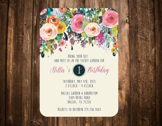 Secret garden birthday invitation bright floral printable or set secret garden birthday invitation bright floral by papernpeonies filmwisefo