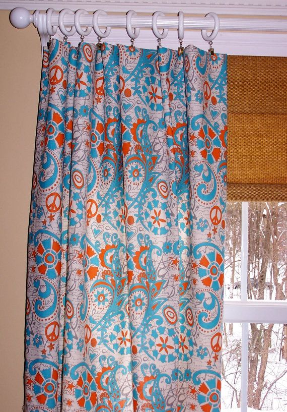 Love these curtains. Mandarin Hippie Chick CURTAINS Premier Fabric Two  Custom Drapery Panels 50 x 84 Turquoise Blue Orange Curtain - Mandarin Hippie Chick CURTAINS Premier Fabric Two Custom Drapery