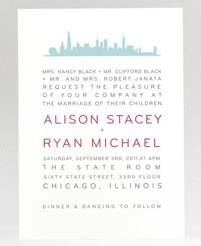 Chicago Skyline  Wedding Invitation  Celebrate Chicago chic with this elegant skyline silhouette.