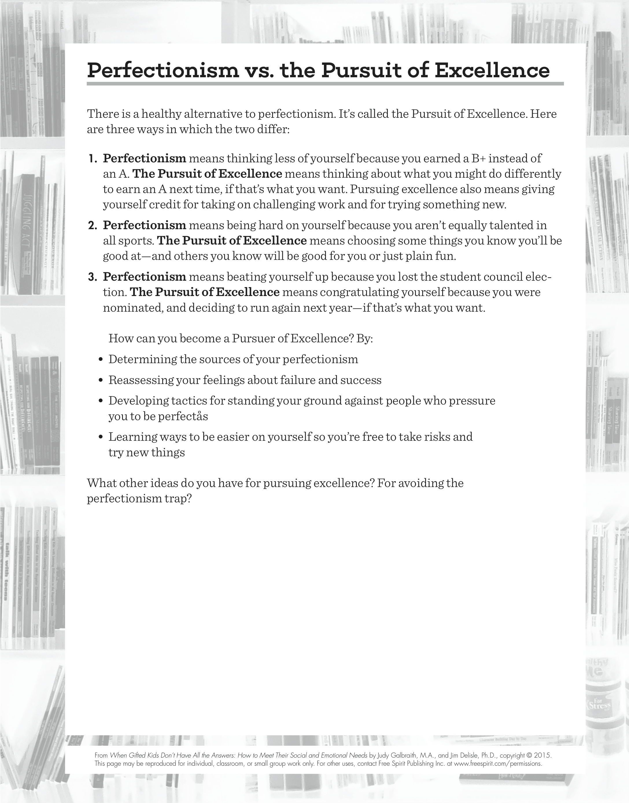 Free Download Perfectionism Vs The Pursuit Of Excellence