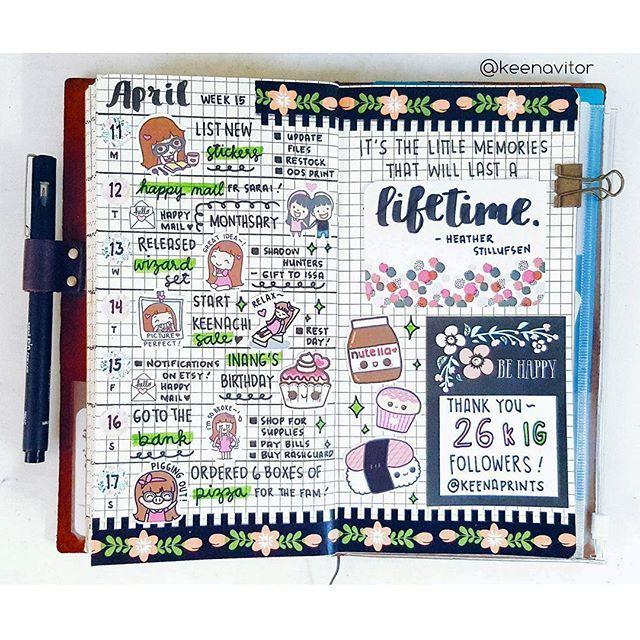 Week 15 spread 💖 . . . . . #planner #stickers #stationery #happymail #kawaii #cute #doodle #plannercommunity #plannerlove #planneraddict #filofax #happyplanner #erincondren