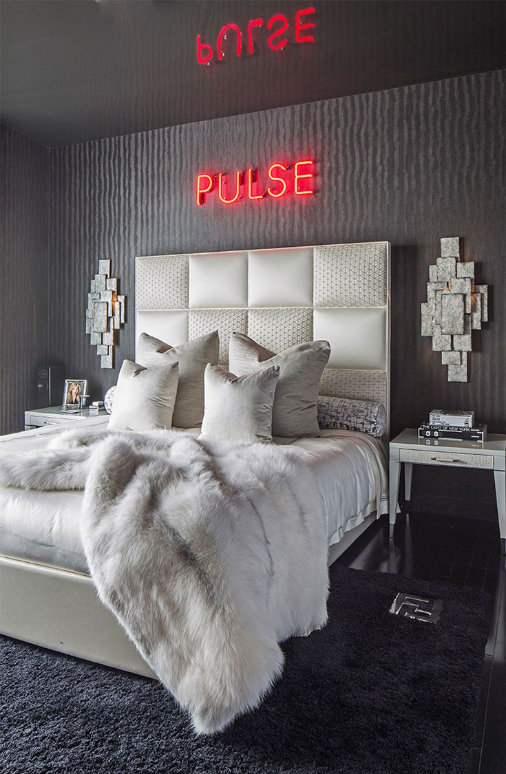 Edgy Glam Felicia Zwebner Presents A Wolf Of Wall Street Inspired Apartment Using Fendi Casa Luxurious Bedrooms Neon Bedroom Bedroom Decor
