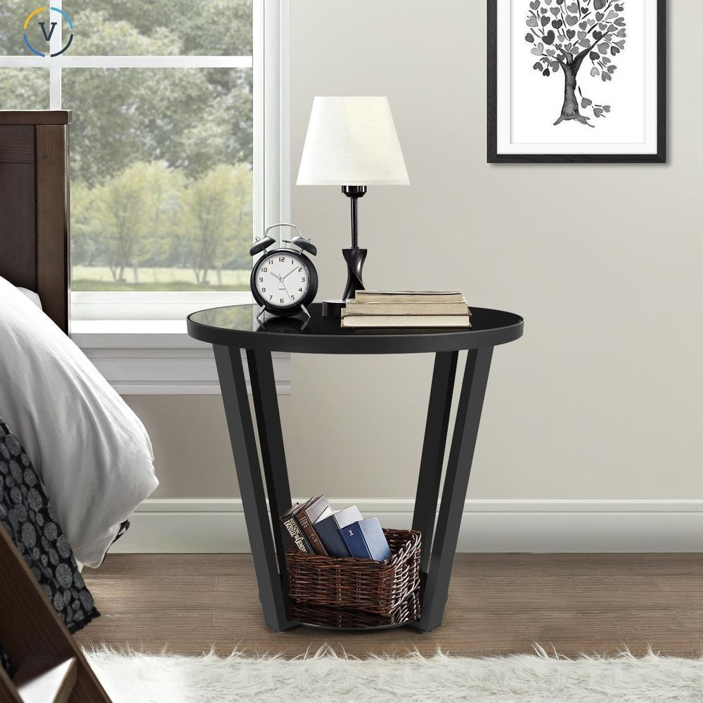 Round Glass Bedside Table Round Storage Side Table Nightstand End Accent Metal Glass Top