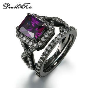Radiant Amethyst Rings Sets 18K Black Gold Plated Fashion Ring