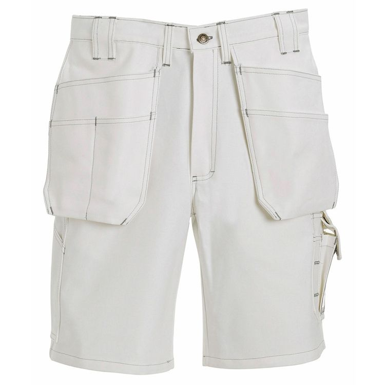 Blaklader 1634 Work Shorts - White - Smooth comfortable 11 oz. cotton delivers high performance durability. All the functions of the carpenter pant with the added durability of Cordura lined pockets.| FullSource.com