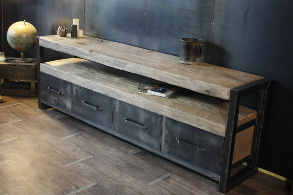buffet bois brut industriel 4 tiroirs micheli design meubles en bois pinterest buffet. Black Bedroom Furniture Sets. Home Design Ideas