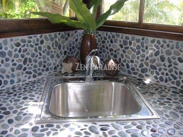 Pebble Countertop Pebble Tile Kitchen Cabinets On A Budget