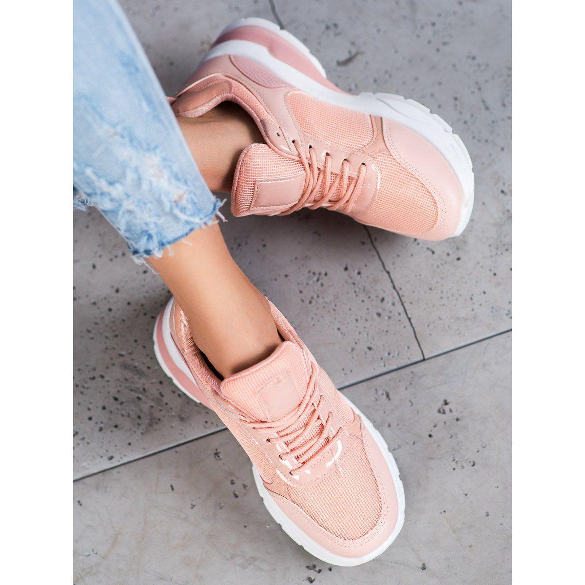 Shelovet Stylowe Sneakersy Z Siateczka Rozowe Platform Sneakers Bow Sneakers Sneakers
