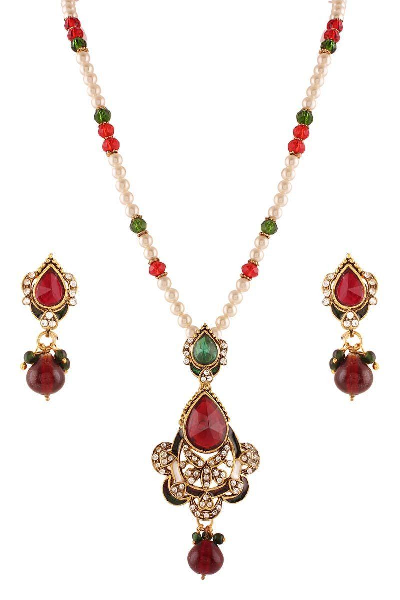 Maroon gold plated kundan pendant set jewellery on variation