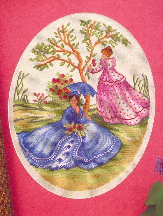 0 point de croix 2 femmes jardin - cross stitch 2 ladies in garden