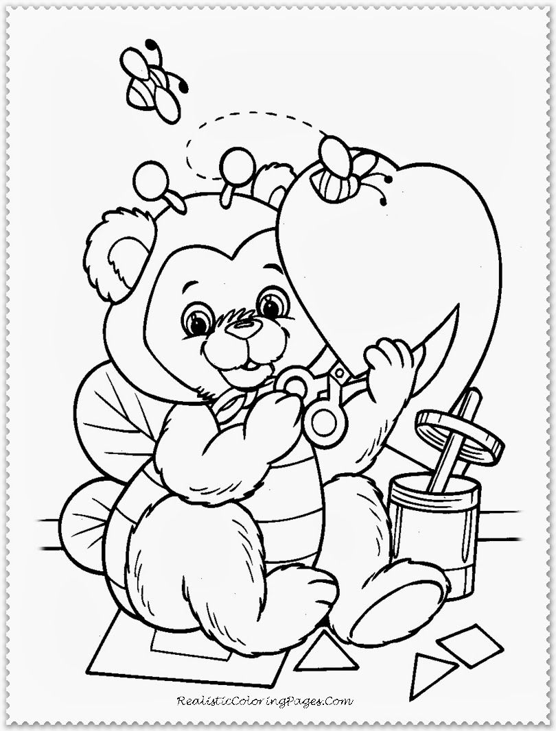 Happy Valentine Cartoon Coloring Pages | Valentines Coloring Pages ...