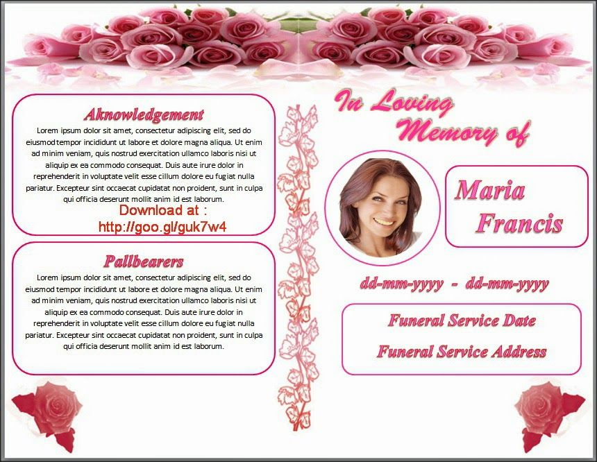 79 best images about Funeral Program Templates for MS Word to – Funeral Pamphlet Templates