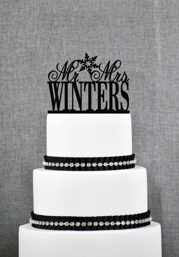 Mr and Mrs Last Name Snowflake Wedding Cake Topper, Personalized ...