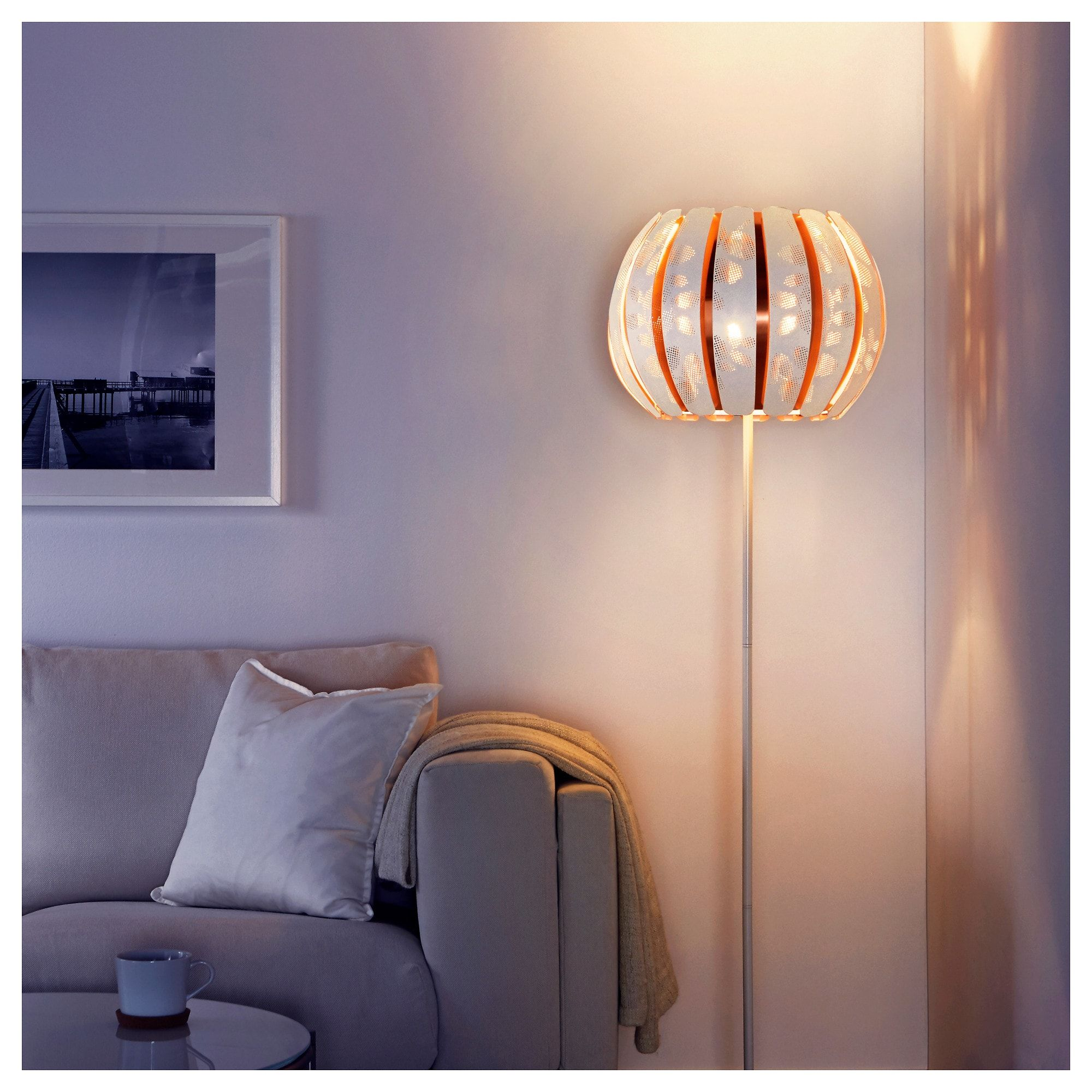 Ikea Overud White Copper Color Lamp Shade In 2019