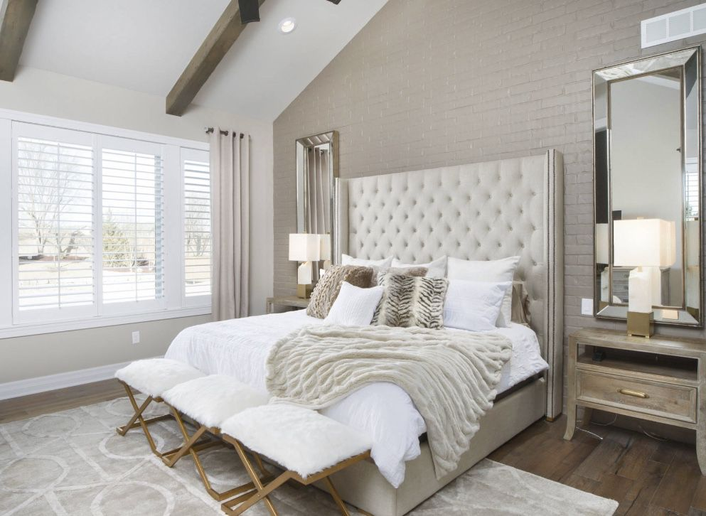 Cozy Beige Bedroom Decor Traditional Bedroom With White Tufted