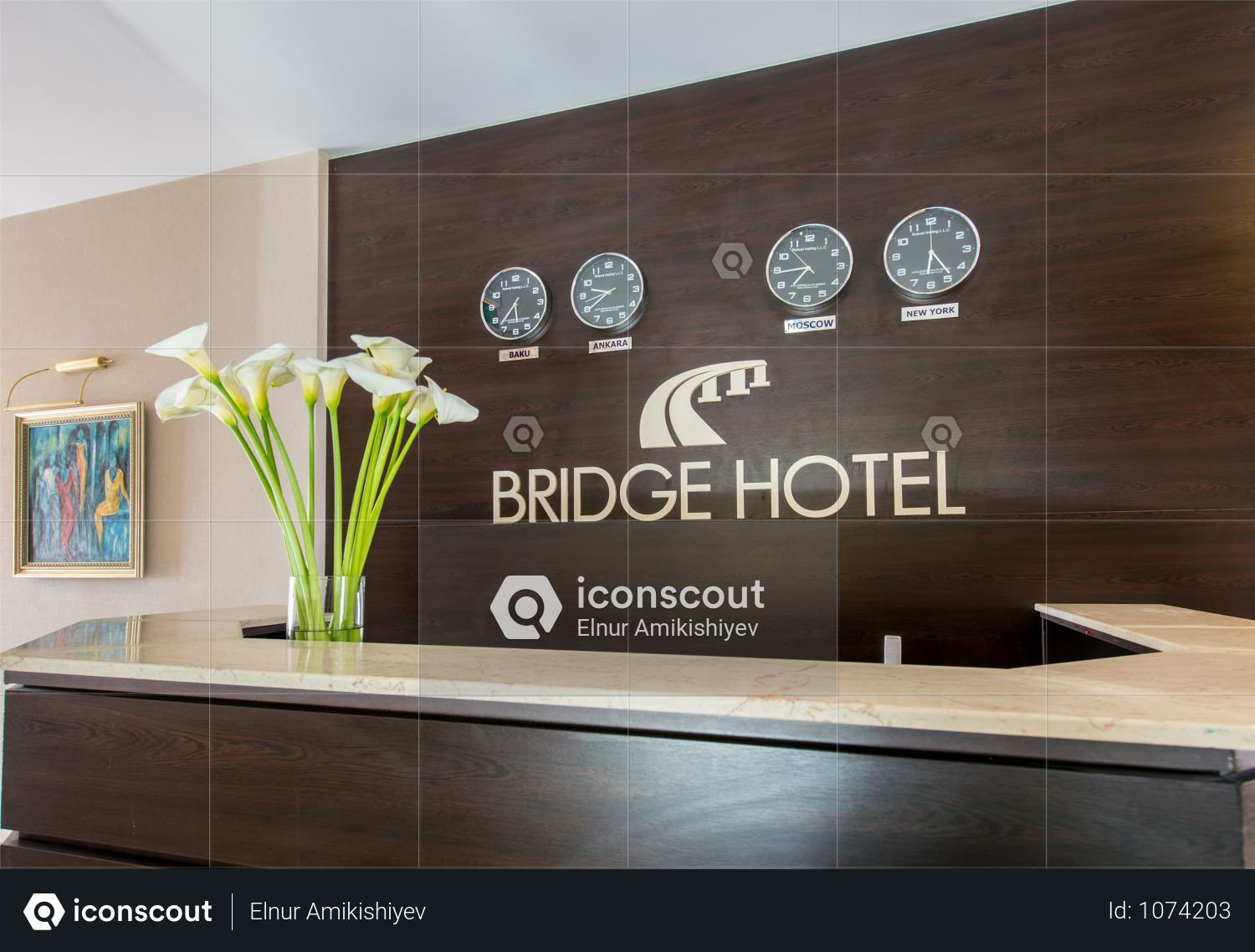 Premium The Hotel Reception With Desk And Clocks Photo Download In Png Jpg Format Hotel Reception Airplane Decor Hotel