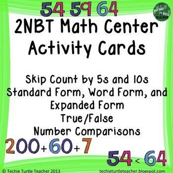 Math Center Cards Skip Count Expanded Word Standard Form