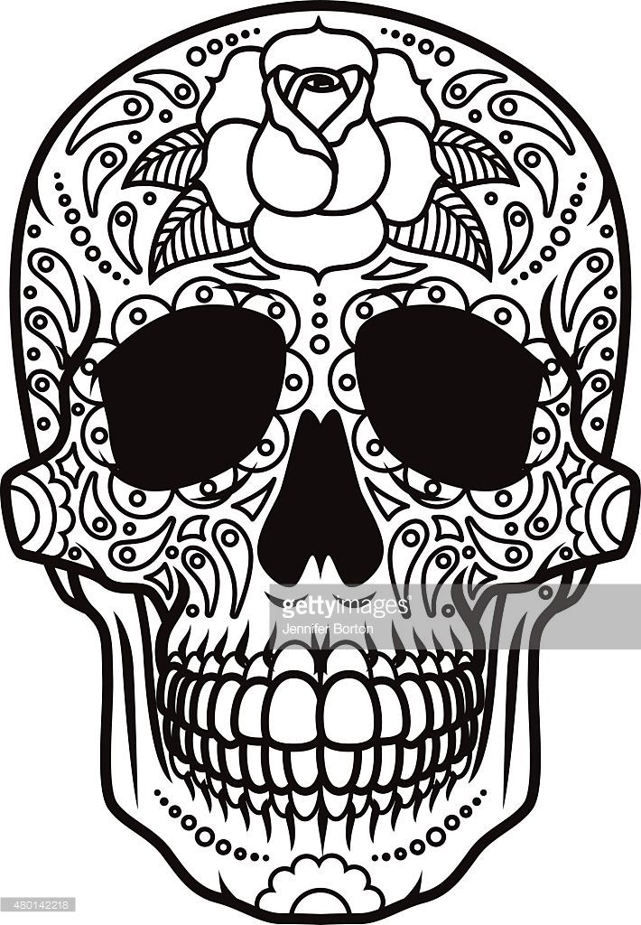 A Mexican Sugar Skull Icon Black And White Line Art The Sugar Skull Sugar Skull Drawing Skull Coloring Pages Mexican Pattern