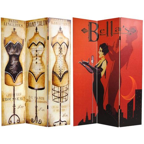 A stylish splash of color, curves and whimsical kitsch. A beautifully rendered reproduction of a bold, red and black art deco style cabaret poster on one