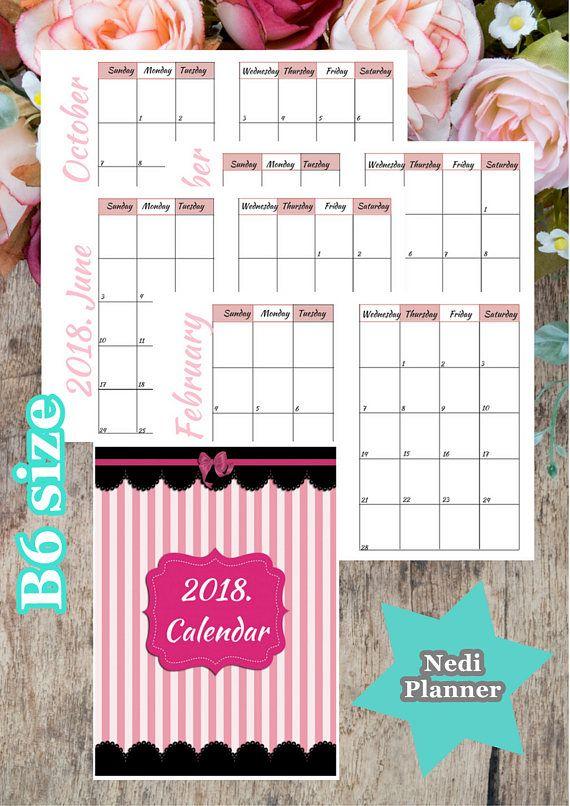 B Size  Calendar Monthly Planner Planner Printable