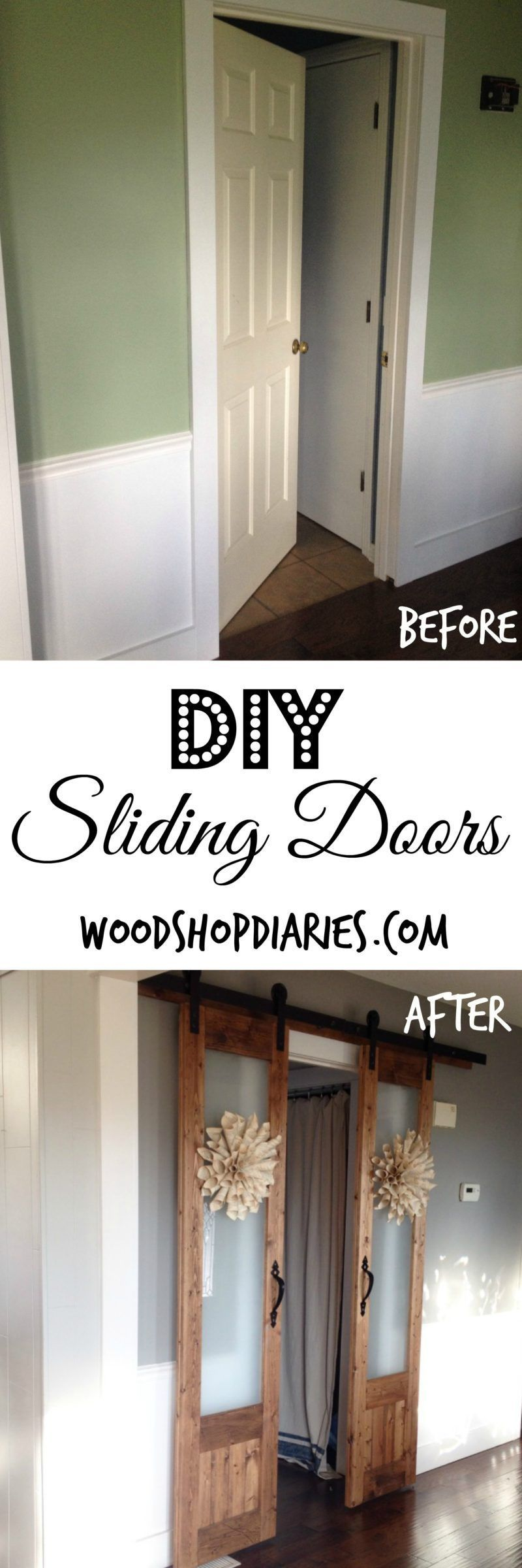 Turn An Old Hollow Core Door Into French Sliding Doors And Diy Hardware For About 100 Home Remodeling Diy Home Diy Sliding Doors Interior
