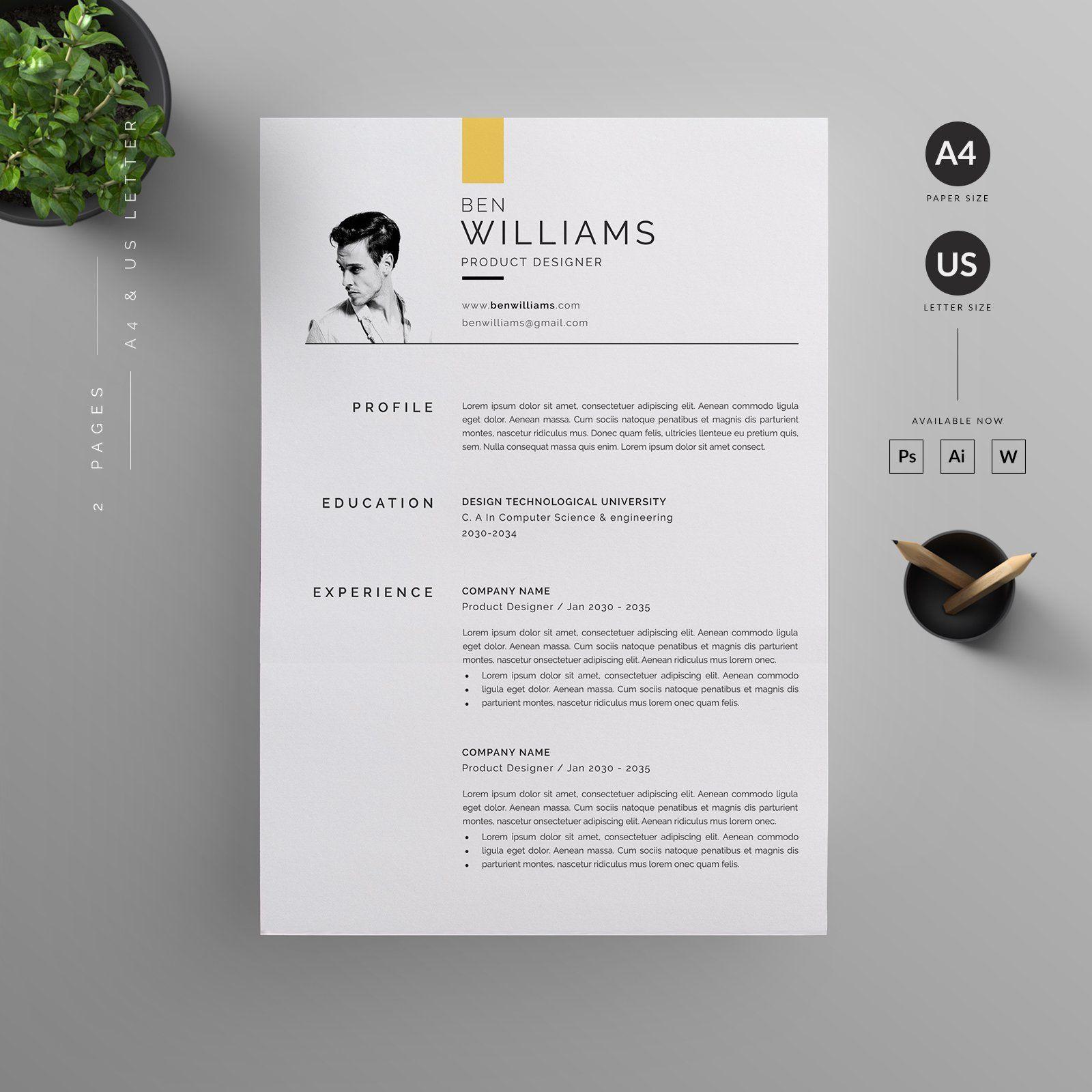 Resume/CV in 2020 Resume design template, Letterhead