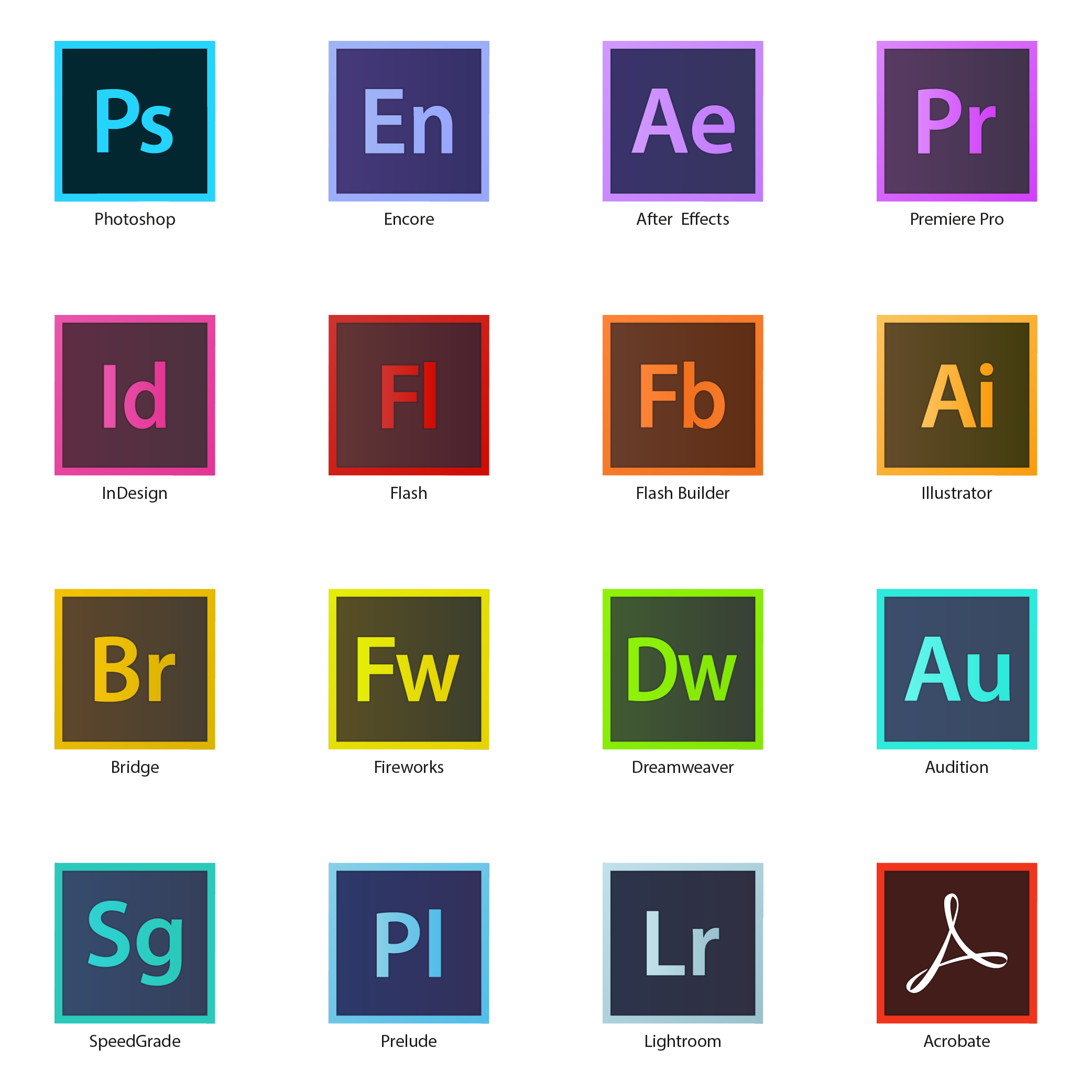 Icones Adobe Suite Cc Hd Vector Illustrator Ai Adobe Vector Lightroom